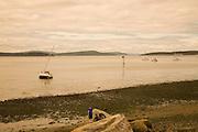 Boat grounded, Lopez Island, San Juan Islands, Washington State