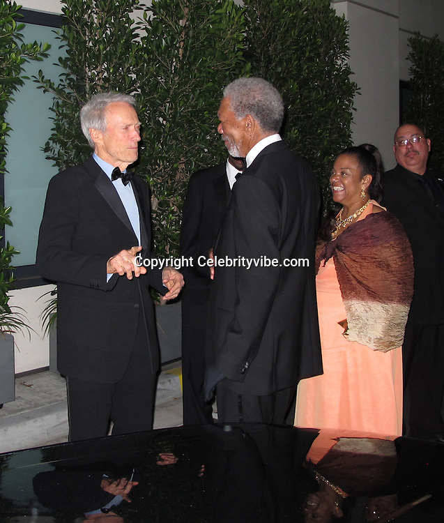 Clint Eastwood and Morgan Freeman..2011 AFI Life Achievement Award Honoring Morgan Freeman - Inside and after Party..Sony Pictures Studios..Culver City, CA, USA..Thursday, June 09, 2011..Photo By CelebrityVibe.com..To license this image please call (212) 410 5354; or.Email: CelebrityVibe@gmail.com ;.website: www.CelebrityVibe.com