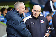 Reading's Manager Brian McDermott and Blackburn Rovers manager Paul Lambert during the Sky Bet Championship match between Reading and Blackburn Rovers at the Madejski Stadium, Reading, England on 3 December 2015. Photo by Mark Davies.