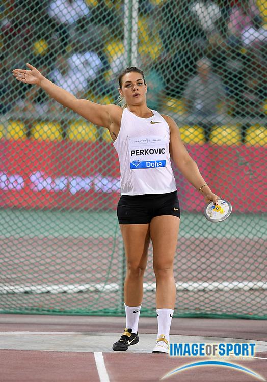 Sandra Perkovic (CRO) wins the women's javelin at 234-1 (71.38m) in the 2018 IAAF Doha Diamond League meeting at Suhaim Bin Hamad Stadium in Doha, Qatar, Friday, May 4, 2018. (Jiro Mochizuki/Image of Sport)
