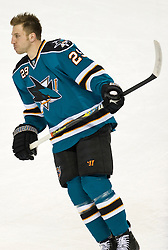 April 16, 2010; San Jose, CA, USA; San Jose Sharks left wing Ryane Clowe (29) before game two against the Colorado Avalanche in the first round of the 2010 Stanley Cup Playoffs at HP Pavilion.  San Jose defeated Colorado 6-5. Mandatory Credit: Jason O. Watson / US PRESSWIRE