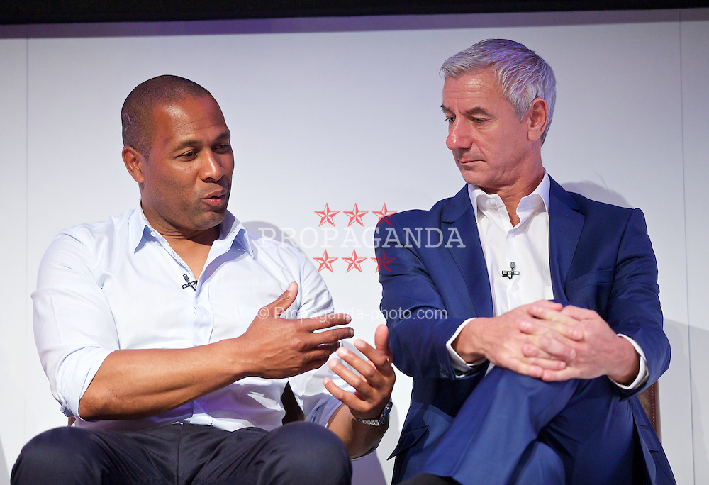 NEWPORT, WALES - Saturday, May 30, 2015: Les Ferdinand and Ian Rush during the Football Association of Wales' National Coaches Conference 2015 at the Celtic Manor Resort. (Pic by David Rawcliffe/Propaganda)