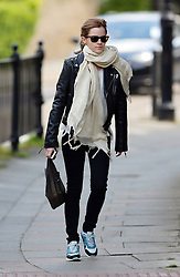 Actress Emma Watson wearing a black leather bikers jacket, white top, cream scarf, skinny jeans a Nike Air Max trainers out in London, UK. 14/05/2014<br />BYLINE MUST READ : JAMESY/GOTCHA IMAGES<br /><br />Copyright by © Gotcha Images Ltd. All rights reserved.<br />Usage of this image is conditional upon the acceptance <br />of Gotcha Images Ltd, terms and conditions available at<br />www.gotchaimages.com