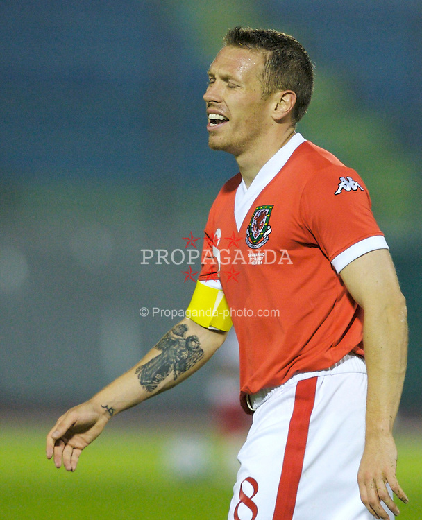 San Marino, San Marino - Wednesday, October 17, 2007: Wales' captain Craig Bellamy during the Group D UEFA Euro 2008 Qualifying match against San Marino at the Serravalle Stadium. (Photo by David Rawcliffe/Propaganda)