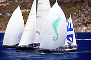 Kalikobass II, Saudade, and Axia racing in the St. Barth's Bucket Regatta.