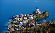 View from Pyramidenkogel Mountain, Lake Woerth, Maria Woerth, Keutschach am See, Carinthia, Austria, Europe