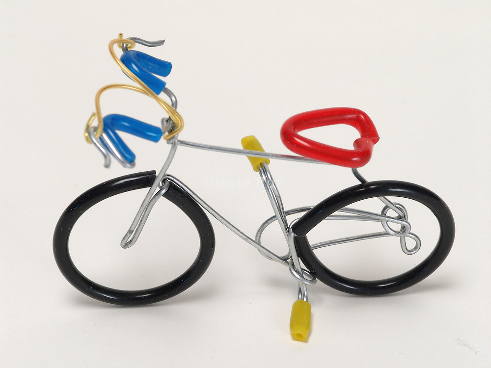 A handmade wire toy bicycle.