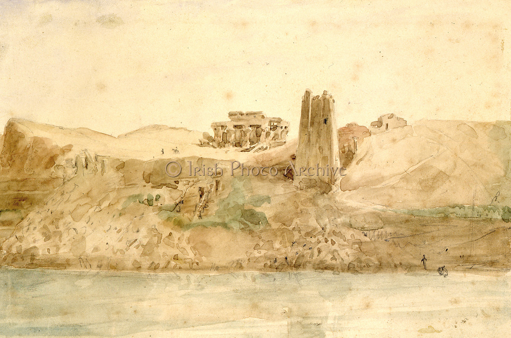 Kum Ombo' Watercolour by Hector Horeau (1801-1872), French architect. View of the ruins of the Ancient Egyptian twin temples from the Nile about 28 miles north of Aswan.