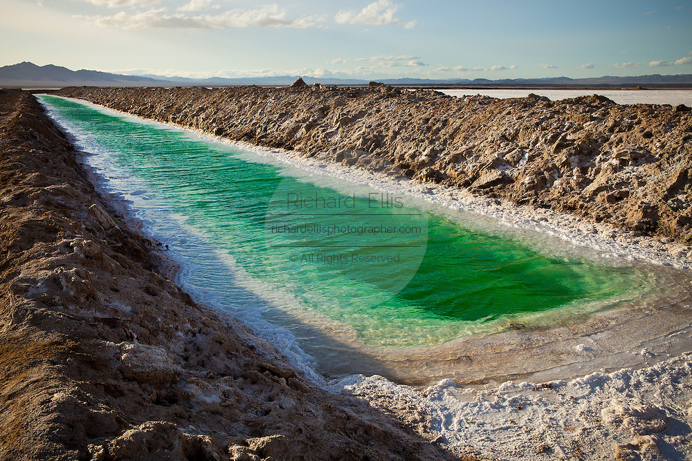 Green canals of liquid Calcium Chloride drying in the desert outside Amboy, CA