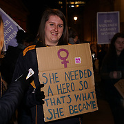 London, UK. 25th November 2017. Hunders of protesters rally to mark the 40th anniversary of Reclaim the Night fought to end violence against women.