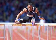 Orlando Ortega CUB competing in the 110m hurdles during the IAAF  Diamond League Sainsbury's Birmingham Grand Prix at Alexander Stadium, Birmingham<br /> Picture by Alan Stanford/Focus Images Ltd +44 7915 056117<br /> 07/06/2015