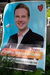 GERMANY HAMBURG 17MAY14<br /> <br />  - Election poster for CDU candidate Stefan Nicolas Bohlen on Eppendorfer Landstrasse, Hamburg.<br /> <br /> jre/Photo by Jiri Rezac<br /> <br /> <br /> <br /> © Jiri Rezac 2014