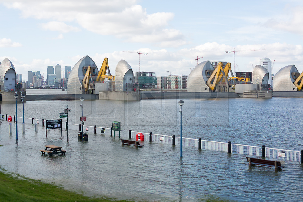 © Licensed to London News Pictures. 5/10/2017. London, UK. The Thames Barrier has been closed today to protect London from a tidal surge.It is the 179th time that the barrier has closed to protect against tidal flooding since 1982. Photo credit : Rob Powell/LNP