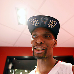 Jun 20, 2013; Miami, FL, USA; Miami Heat center Chris Bosh celebrates in the locker room following game seven in the 2013 NBA Finals at American Airlines Arena. Miami defeated San Antonio 95-88 to win the NBA Championship. Mandatory Credit: Derick E. Hingle-USA TODAY Sports