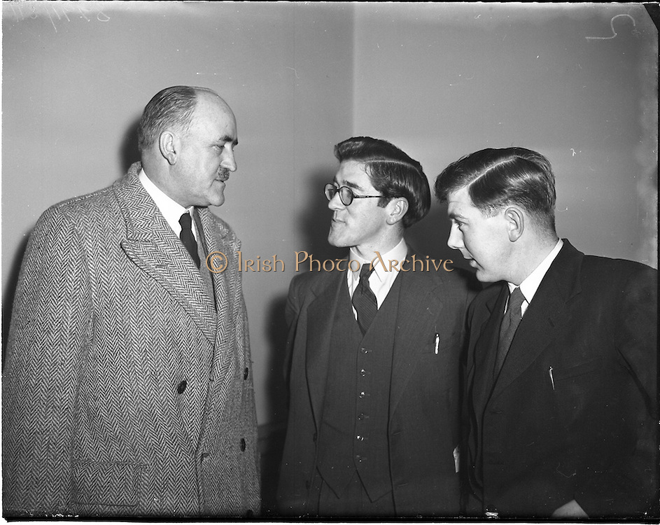 23/01/1953<br /> 01/23/1953<br /> 23 January 1953<br /> Proinsias Mac Cana M.A. (centre) At a  Gaelic lecture he delivered at Newman House.<br /> Mac Cana published several books on early Celtic literature and mythology and held chairs of Welsh and Old Irish at the National University of Ireland. He was also a professor at several universities including Harvard. Frank Aiken on left.