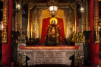 Foshan Ancestor Temple altar with Buddha statue in Foshan, Guangdong, China 2016