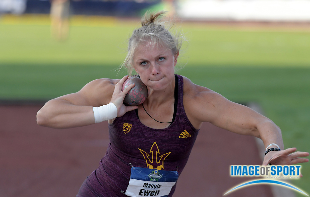 Jun 7, 2018; Eugene, OR, USA; Maggie Ewen of Arizona State wins the women's shot put with a throw of 62-10 3/4 (19.17m) during the NCAA Track and Field championships at Hayward Field.