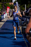 Christophe Manchon (AUS). Subaru Olympic Distance Triathlon. 2012 Geelong Multi Sport Festival. Eastern Beach, Geelong, Victoria, Australia. 12/02/2012. Photo By Lucas Wroe