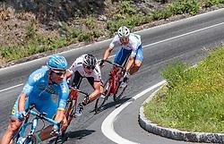 07.07.2017, St. Johann Alpendorf, AUT, Ö-Tour, Österreich Radrundfahrt 2017, 5. Kitzbühel - St. Johann/Alpendorf (212,5 km), im Bild Gatis Smukulis (LAT, Delko Marseille Provence KTM), Matthias Krizek (AUT, Tirol Cycling Team), Davide Ballerini (ITA, Nationale Italiana) // Gatis Smukulis (LAT, Delko Marseille Provence KTM), Matthias Krizek (AUT, Tirol Cycling Team), Davide Ballerini (ITA, Nationale Italiana) during the 5th stage from Kitzbuehel - St. Johann/Alpendorf (212,5 km) of 2017 Tour of Austria. St. Johann Alpendorf, Austria on 2017/07/07. EXPA Pictures © 2017, PhotoCredit: EXPA/ JFK