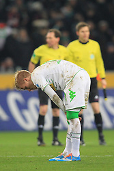 07.02.2014, Borussia Park, Moenchengladbach, GER, 1. FBL, Borussia Moenchengladbach vs Bayer 04 Leverkusen, 20. Runde, im Bild Oscar Wendt (Borussia Moenchengladbach #17) enttaeuscht nach der Niederlage gegen Leverkusen // during the German Bundesliga 20th round match between Borussia Moenchengladbach and Bayer 04 Leverkusen at the Borussia Park in Moenchengladbach, Germany on 2014/02/07. EXPA Pictures © 2014, PhotoCredit: EXPA/ Eibner-Pressefoto/ Schueler<br /> <br /> *****ATTENTION - OUT of GER*****