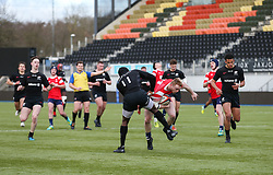 Ollie Holiday of Bristol Bears U18 is tackled by Wilson Ijeh of Saracens U18 - Mandatory by-line: Arron Gent/JMP - 12/01/2020 - RUGBY - Allianz Park - London, England - Saracens U18 v Bristol Bears U18 - Premiership U18 Academy