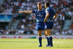 Referee Touch Judge Nigel Owens talks with Referee Andrew Brace - Mandatory by-line: Ryan Hiscott/JMP - 27/05/2018 - RUGBY - Twickenham Stadium - London, England - England v Barbarians - Quilter Cup