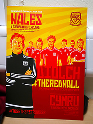A Wales National Football Team poster ahead of the 2018 FIFA World Cup Qualifying Group D match at the Cardiff City Stadium, Cardiff.