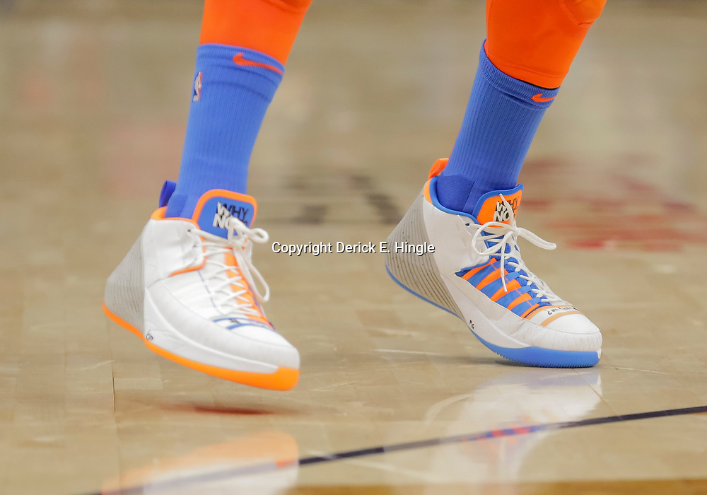 Dec 12, 2018; New Orleans, LA, USA; Shoes worn by Oklahoma City Thunder guard Russell Westbrook during the first quarter against the New Orleans Pelicans at the Smoothie King Center. Mandatory Credit: Derick E. Hingle-USA TODAY Sports