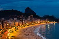 High angle view of   Avenida Atlantica and Copacabana Beach at twilight, Rio de Janeiro, Brazil.
