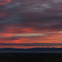A double image panoramic of the big sky and paramount sunsets known to Patagonia, Argentina.