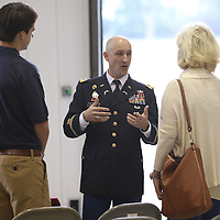Libby Ezell | BUY AT PHOTOS.DJOURNAL.COM<br /> LTC Brian Locke answered any and all questions about Mississippi State Army ROTC at Saturday's Military Service Academy Day