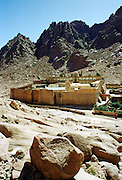 St Catherine's Monastery at foot of Mount (Mount el-Deir), also Mount Sinai, in Sinai Desert in Egypt