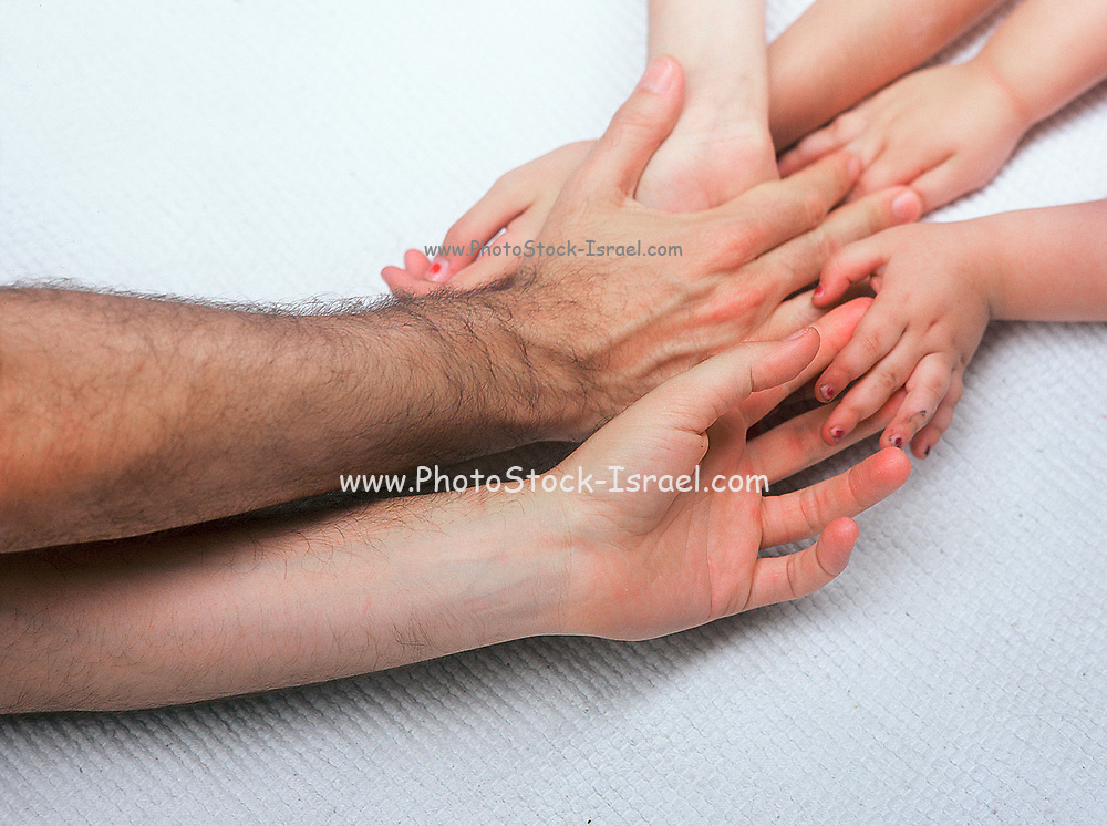 Family hands six hands father mother and daughter on white background