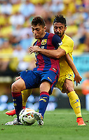 VILLARREAL, SPAIN - AUGUST 31:  Jaume Costa (R) of Villarreal competes for the ball with Munir of Barcelona during the La Liga match between Villarreal CF and FC Barcelona at El Madrigal stadium on August 31, 2014 in Villarreal, Spain.  (Photo by Manuel Queimadelos Alonso/Getty Images)