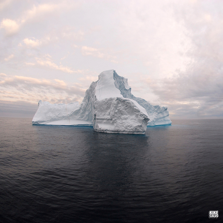 Icebergs from Greenland, drifting on Iceberg Alley. Baffin Bay.  Baffin Island. High Arctic. Canada.( environment, global warming, ice, snow, white, blue, turquoise, inmense, mass, block, glacier, foggy, fog, ocean, arctic circle, winderness, view, trip, exploration, wild, scenic, scenics, seascape, tourist, cold, orlova, icebreaker, russian