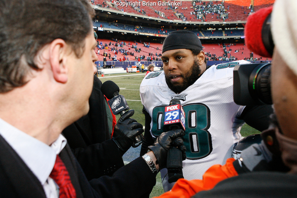 11 Jan 2009: Philadelphia Eagles defensive tackle Mike Patterson #98 is interviewed after the game against the New York Giants on January 11th, 2009.  The  Eagles won 23-11 at Giants Stadium in East Rutherford, New Jersey.