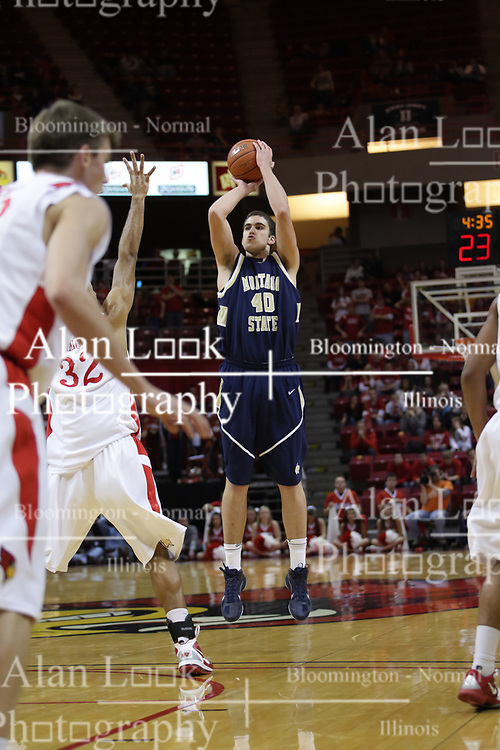 04 December 2010: Jeff Budinich shoots the 3 point shot during an NCAA basketball game between the Montana State Bobcats and the Illinois State Redbirds at Redbird Arena in Normal Illinois.