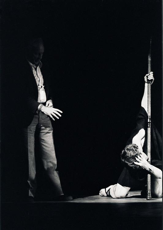 George Balanchine rehearsing Mikhail Baryshnikov in .Prodigal Son.New York City Ballet.Choreography by George Balanchine.©Paul Kolnik.