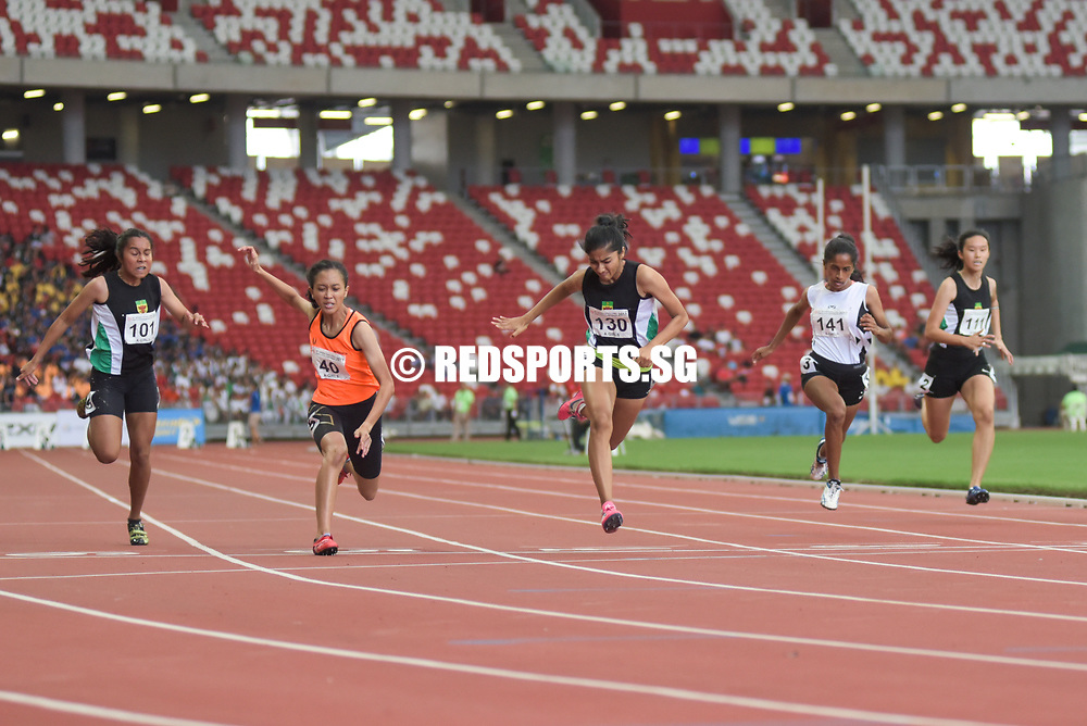 National Stadium, Friday, April 28, 2017 — After missing out on the 200 metres gold four days earlier, Raffles Institution's Tanisha Moghe had redemption on her mind when she took to the blocks in the A Division girls' 100m final at the 58th National Schools Track and Field Championships. Story: https://www.redsports.sg/2017/04/30/a-div-100m-girls-ri-tanisha-moghe/