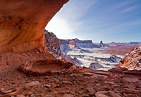 False Kiva after a Winter snowstorm in Canyonlands National Park.