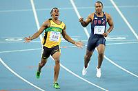 ATHLETICS - IAAF WORLD CHAMPIONSHIPS 2011 - DAEGU (KOR) - DAY 2 - 28/08/2011 - PHOTO : STEPHANE KEMPINAIRE / KMSP / DPPI - <br /> 100 M - FINALE - MEN - USAIN BOLT (JAM)DISQUALIFED FOR  FALSE START - YOHAN BLAKE (JAM) - WINNER - SECOND PLACE WALTER DIX (USA)
