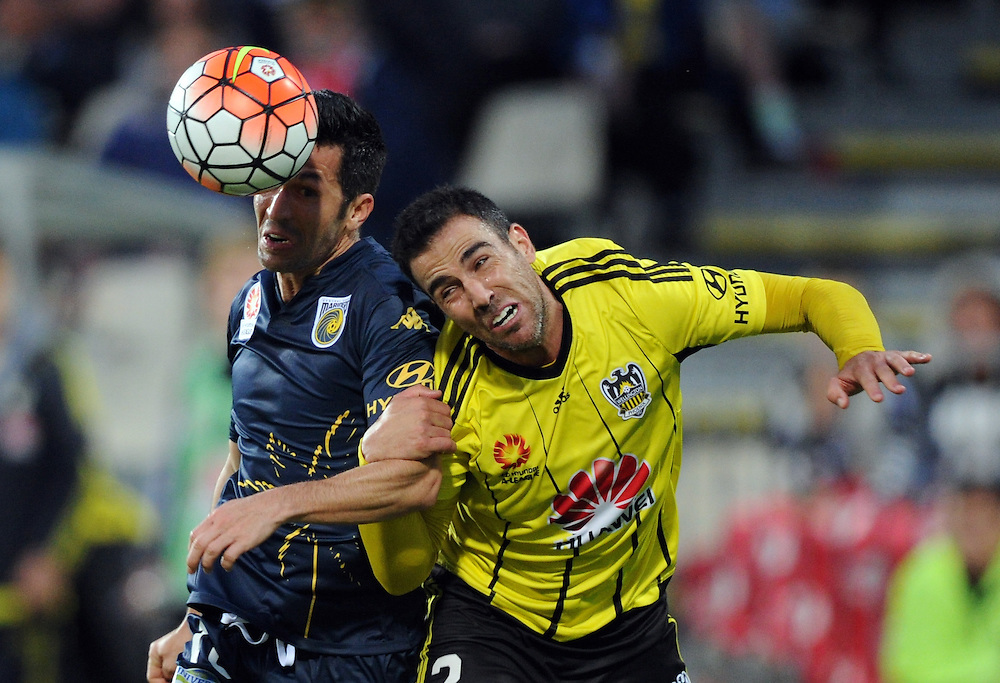 Central Coast Mariners' Luis Garcia, left and Phoenix's Manny Muscat contest the ball in the A-League football match at AMI Stadium, Christchurch, New Zealand, Saturday, January 30, 2016. Credit:SNPA / Ross Setford