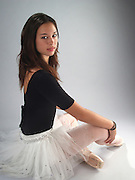 young female ballet dancer in full dress and shoes, studio shot Model released