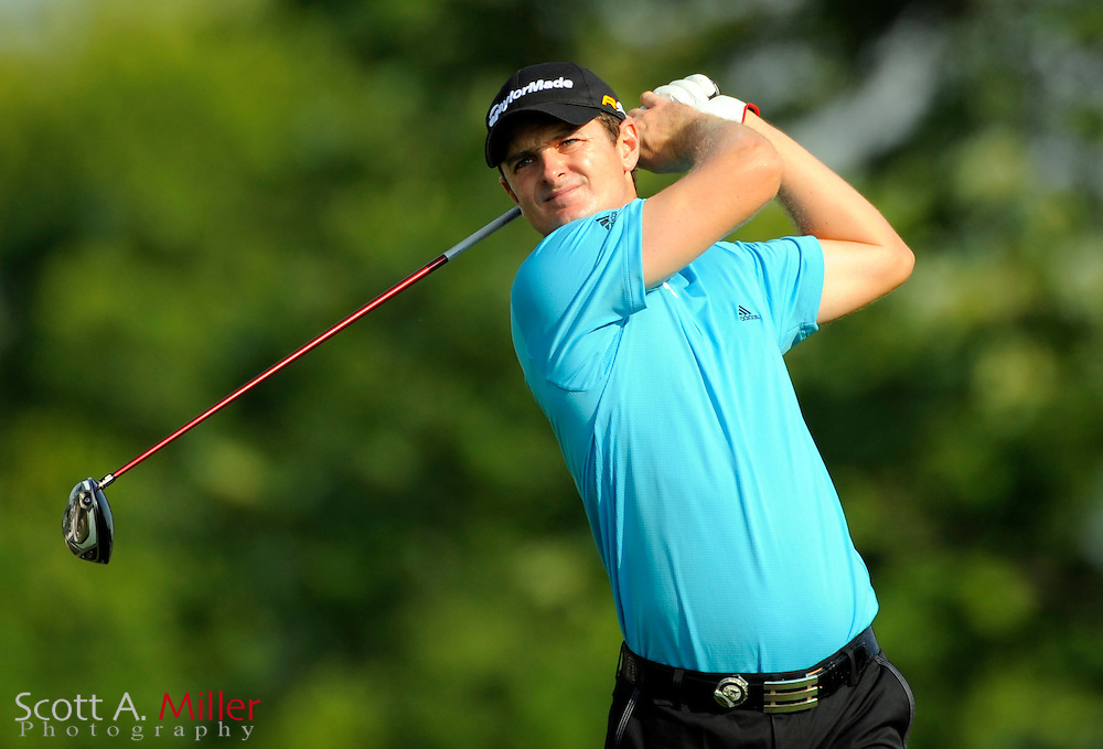 Aug 13, 2009; Chaska, MN, USA; Justin Rose (GBR) hits his tee shot on the 12th hole during the first round of the 2009 PGA Championship at Hazeltine National Golf Club.  ©2009 Scott A. Miller