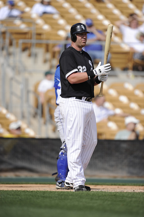 GLENDALE, AZ - MARCH 06:  Adam Dunn #32 of the Chicago White Sox bats during the game against the Kansas City Royals on March 06, 2011 at The Ballpark at Camelback Ranch in Glendale, Arizona. The Royals defeated the White Sox 8-3.  (Photo by Ron Vesely)