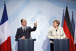 Bildnummer: 57992103 ..Chancellor Angela Merkel and Franois Grard Georges Nicolas Hollande during a press conference French Presidents in Federal Chancellery in Berlin Germany, Tuesday May 15, 2012.Sven Simon/imago/ i-Images