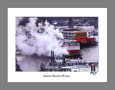Signed and numbered 19x24 poster showcasing the steamboat heritage of Cincinnati during the Tall Stacks festival