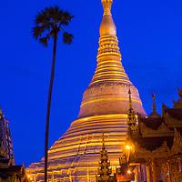 YANGON , MYANMAR - SEP 12 : Shwedagon Pagoda in Yangon, Myanmar on September 12 2017 , Shwedagon Pagoda is the most sacred Buddhist pagoda in Myanmar
