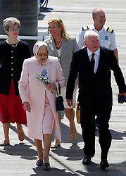 © under license to London News Pictures.  25/05/2011.  The Queen (L) pays a personal visit to Sir Donald Gosling (R), The National Car Parks Tycoon. They dined on his super yacht 'Leander' in Gunwharf, Portsmouth. Picture credit should read: Bryan Moffat/London News Pictures