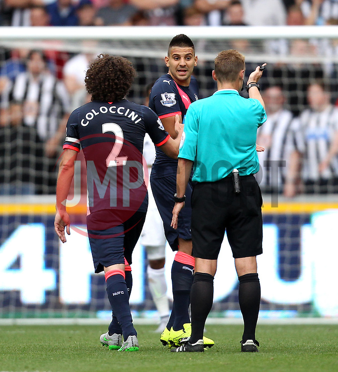 Aleksandar Mitrovic of Newcastle United complains to ref Mike Jones - Mandatory byline: Robbie Stephenson/JMP - 07966386802 - 15/08/2015 - FOOTBALL - Liberty Stadium -Swansea,England - Swansea City v Newcastle United - Barclays Premier League